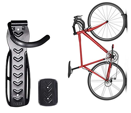 Dirza Bike Wall Mount Rack with Tire Tray - Vertical Bike Storage Rack for Indoor,Garage,Shed - Easy to install - Great for Hanging Road,Mountain or Hybrid Bikes - Screws Included - 1 Pack