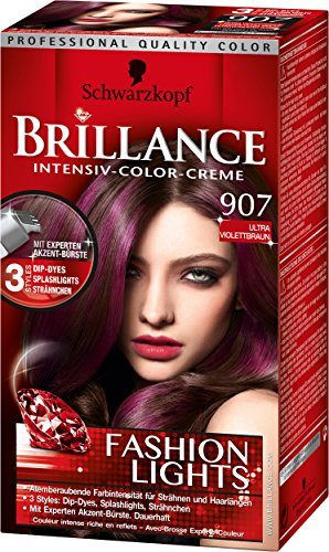 Brillance Intensiv-Color-Creme, 907 Ultra Violettbraun Fashion Lights, 3er Pack (3 x 143 ml)