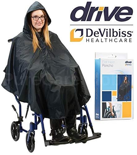Regenponcho für Rollstuhl, flacher Saum, wasserdicht