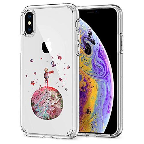 Oihxse Compatibile per Cover Trasparente iphone X/XS,Custodia iPhone XS/X Silicone Case Ultra Sottile Simpatico Morbida Protezione a 360 Gradi Slim Case Antiurto Anti-Graffio (Piccolo Principe)