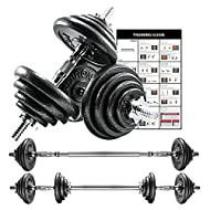 PROIRON 20kg Cast Iron Adjustable Dumbbell Set Hand Weight with Solid Dumbbell Handles Changed into ...