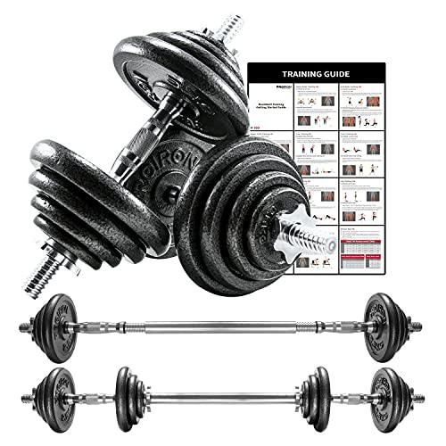 PROIRON Mancuernas ajustables 20kg conjunto con pesas barra y discos, convertido en perfecta ha...