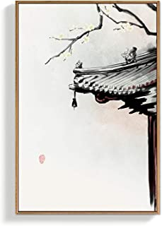 NWT Framed Canvas Wall Art for Living Room, Bedroom Chinese Ink Painting Canvas Prints for Home Decoration Ready to Hanging - 24x36 inches