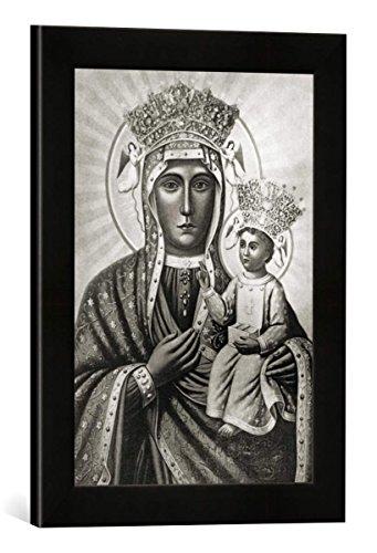 Gerahmtes Bild von 14. Jahrhundert Schwarze Madonna von Tschenstochau, Kunstdruck im hochwertigen handgefertigten Bilder-Rahmen, 30x40 cm, Schwarz matt