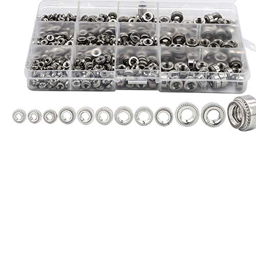 450pcs Self Clinching Nut Cls 304 Stainless Steel Steel M3 M4 M5 M6 Swage Nut Press-Fit Nut Assortment Kit Plug Nut