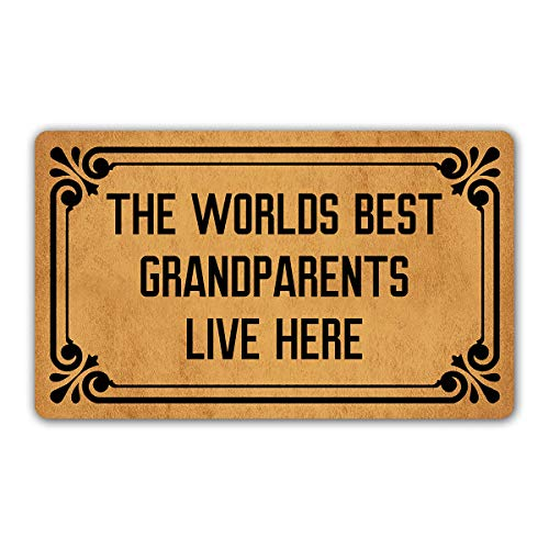 "DoubleJun Funny Doormat The Worlds Best Grandparents Live Here Entrance Mat Floor Rug Indoor/Outdoor/Front Door Mats Home Decor Machine Washable Rubber Non Slip Backing 29.5""(W) by 17.7""(L)"