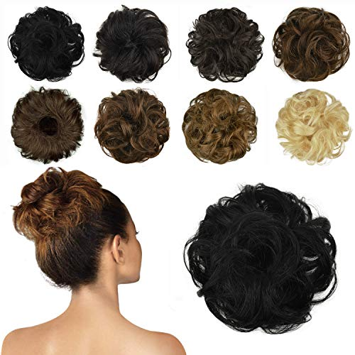 FESHFEN 100% Echthaar Haarteil Haargummi, lockige haarteile Haarknoten Haargummi Hochsteckfrisuren unordentlich dutt Haarteil Echthaar Haargummis für Damen Mädchen, schwarz
