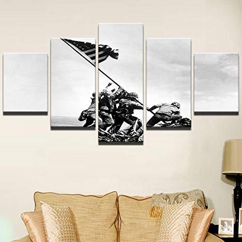 ZhuHZ Wandkunst Retro Bild Dekoration Modern Home Frame Abstrakt Leinwand Poster HD Print 5 Stück Soldaten winken ihre Flagge Gemälde