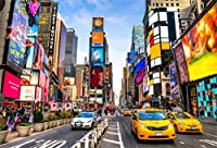 10x8フィート ニューヨークタイムズ スクエアバックグラウンド モダンシティ 高層ビル ビニール写真背景幕 クリアスカイ 様々な広告ボード イエロータクシー 車 金融地区 撮影 ビデオスタジオ