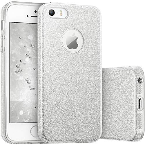TecHERE StarCase - Custodia Morbida con Brillantini Glitter per iPhone SE 5s 5 5se - Cover di Alta qualità in Silicone Gel con Pellicola Protettiva Proteggischermo Inclusa (Argento)