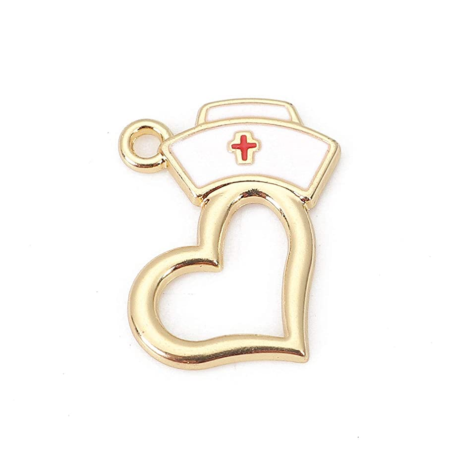 Nurse Cap Pendant Charms, 10 Pack Enamel and Heart, 3/4 x 5/8 Inch (Gold Tone)