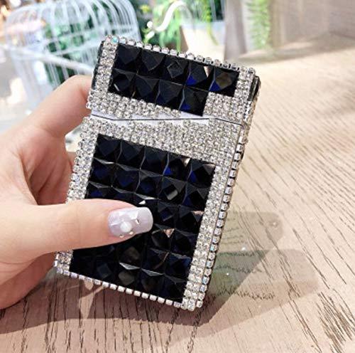 Mopoq Geschenk Strass, Diamant automatische Zigarettenetui, voller Diamanten Fall 20 Zigaretten, Zigaretten-Etui (Color : B)