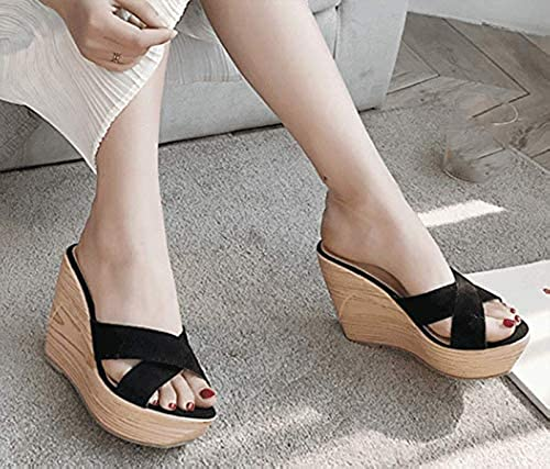AWXJX été Tongs Femme Chaussures Chaussures Chaussures étanche Pente givrée Fond épais Talons Moyens f45