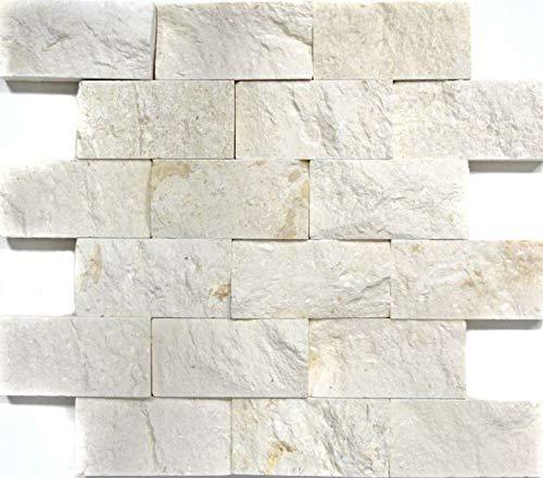 Mosaikfliese Kalkstein Naturstein weiß Brick Splitface Colonial Limestone 3D MOS29-49792