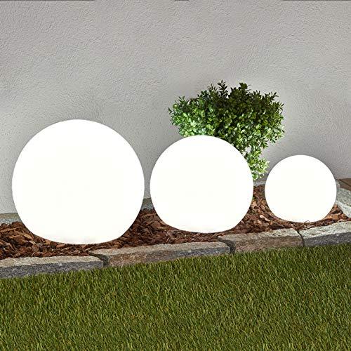 Lindby 3er Set LED Solarleuchten \'Lago\' (spritzwassergeschützt) (Modern) in Weiß (3 flammig, A+, inkl. Leuchtmittel) - Solarlampe, Solarleuchte Garten