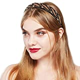 BABEYOND Women's Art Deco Headpiece Flapper Headband 1920s Headpiece Crystal Rhinestone Headband (Black and Gold)