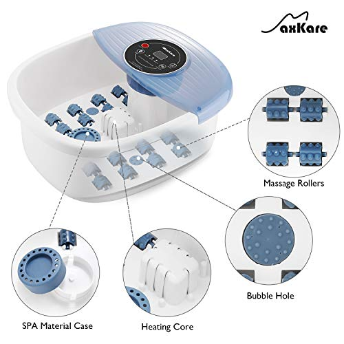 Foot Spa Bath Massager with Heat Bubbles Vibration 3 in 1 Function, 16 Masssage Rollers Soaker Digital Temperature Control Pedicure Tub for Tired Feet Stre   ss Relief Home Use