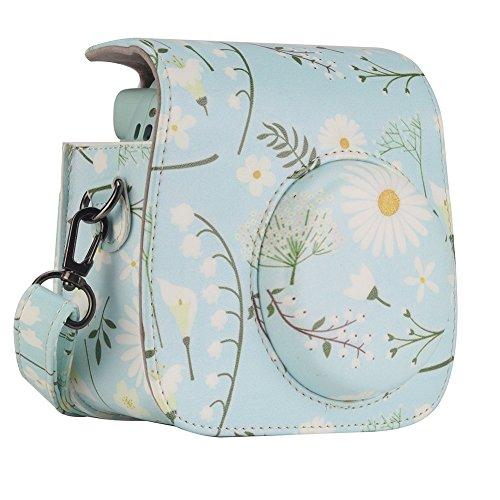 Anter Tasche für Fujifilm Instax Mini 8 8+/Mini 9 Sofortbildkamera aus Weichem Kunstleder mit Schulterriemen und Tasche - Blaue Chrysantheme