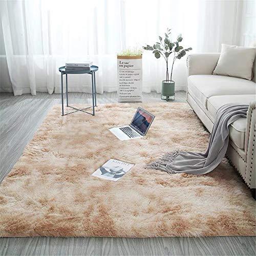 Glitzfas - Alfombra de pelo largo para dormitorio, comedor, pasillo y habitación de los niños, color camel, 60 x 120 cm