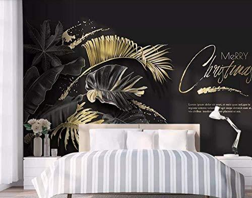 Behang 3D Mural Wandlamp Licht Luxe Zwart Goud Blad 3D Mural Mural Woonkamer Slaapbank TV Muur Slaapkamer Behang (W)300x(H)210cm (W)300x(h)210cm