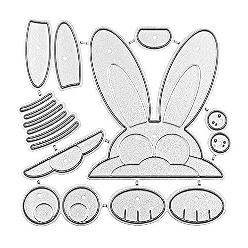 XIGAWAY Metall-Stanzformen mit Osterhasenkopf, Schablone für Scrapbooking, DIY, Album, Stempel, Papierkarte, Prägung, Dekoration, Handwerk