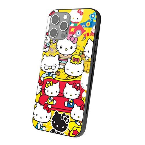 VOROY Carcasa para iPhone 12 de Hello-Kitty de 12 de cristal templado transparente, personalizable, para iPhone 12 y 6.1