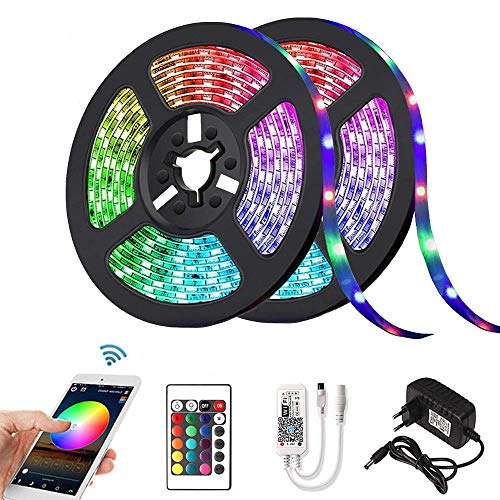Tira LED RGB 2835 DC 12V 5m 10m 15m impermeable WiFi Flexible Diodo Cinta Cinta Fita Tira LED Tiras de luz con mando a distancia + adaptador, no impermeable, 5m solo tira LED