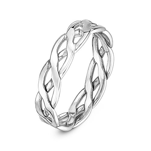 Theia Unisex 9 ct White Gold, 5 mm Celtic Wedding Ring, Size P