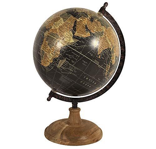 zeitzone Globus Schwarz Weltkugel mit Holzständer Standglobus Antik-Stil Ø 20cm