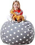 Aubliss Stuffed Animal Bean Bag Storage Chair, Beanbag Covers Only for Organizing Plush Toys, Turns into Bean Bag Seat for Kids When Filled, Large 38'-Canvas Stars Grey