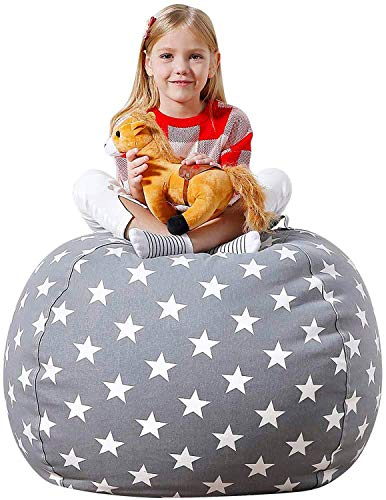 Aubliss Stuffed Animal Bean Bag Storage Chair, Beanbag Covers Only for Organizing Plush Toys, Turns into Bean Bag Seat for Kids When Filled, Premium Cotton Canvas, 38' Extra Large Light Gray Star