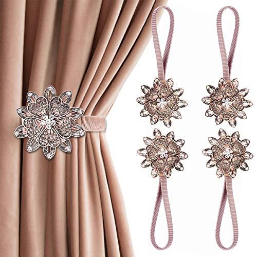AULEEP Juego de 4 alzapaños magnéticos para cortinas decorativas, diseño de flores, estilo europeo y americano (cobre rojo)