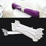 50pz Porta Tovaglioli Carta Perlata Bianca Farfalla Matrimonio Decorazione Tavolo