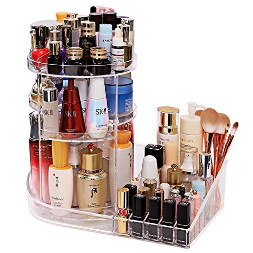 Rangements pour Produits cosmétiques Boîte De Rangement De Cosmétiques De Mode Support Cosmétique Rotatif Transparent De Bureau Pinceau De Maquillage De Rouge À Lèvres Coiffeuse De Dortoir Trousses à
