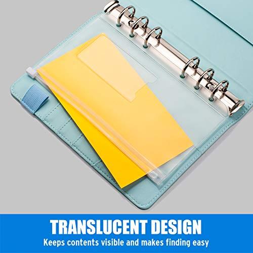 Sooez 12pcs Binder Pockets A6 Binder Zipper Folders, 6 Holes Zipper Binder Pocket with Label Pocket for 6-Ring Notebook Binder, Plastic Clear Zipper Binder Pouch Organizer for Cash, Cards Photo #7