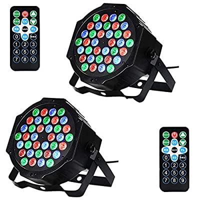 Litake 36 LED Stage Lights, Party Disco DJ Lights RGB 7 Lighting Modes Sound Activated Remote DMX Control Strobe Par Lights with UK Plug,2 Pack