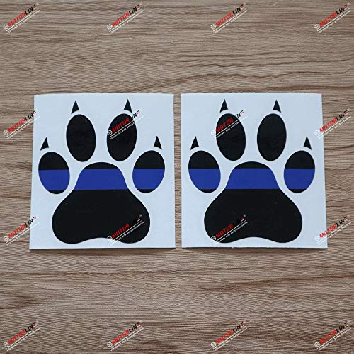 2X Glossy 4'' Dog Paw Thin Blue Line K9 Unit Decal Sticker Car Window Computer Vinyl