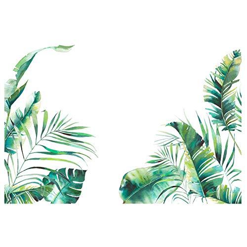 Verlike Accueil Stickers Muraux Autocollants, Sticker Feuille De Plante Tropicale Adhésif Amovible Salon Chambre Sticker Mural, Antidérapant, Facile à Appliquer Vert