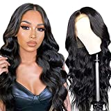Body Wave Lace Front Wigs for Black Women Human Hair, 13x4 Lace Frontal Human Hair Wigs, 150% Density Brazilian Virgin Human Hair Lace Wig Pre-Plucked with Baby Hair Natural Color (18 Inch)