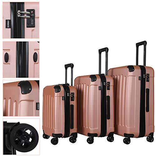 Arebos Premium - Juego de Maletas rígidas con Ruedas | Maletas de Viaje ampliables | Equipaje de Mano de Material ABS con candado TSA y 4 Ruedas | M+L+XL | Oro Rosa