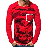 waotier Camisetas Hombre Invierno Manga Larga Camisa de Fondo Estampado de Camuflaje Camuflaje Carta...