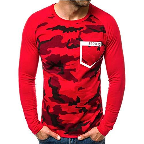 waotier Camisetas Hombre Invierno Manga Larga Camisa de Fondo Estampado de Camuflaje Camuflaje Carta Sudadera Top tee Outwear Blusa