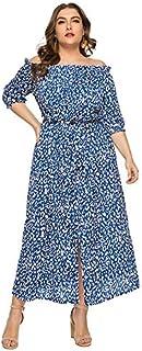 Funien Women Plus Size Off Shoulder Maxi Dress Leopard Print Split Slim Elegant Boho Holiday Long Dress Red/Light Blue