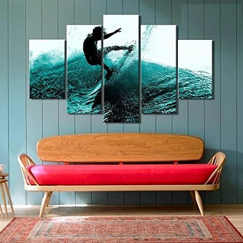 WKXZZS Impresiones sobre Lienzo, Modular Decoración De Pared Póster, 5 Pieza, El Hombre de Surf Mural Moderno Decor Hogareña 100x55cm con Marco