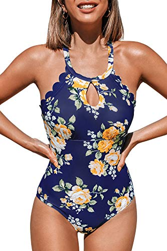 CUPSHE Damen Badeanzug Blumenmuster High Neck Wellenkante Einteilige Bademode Swimsuit Dunkelblau M