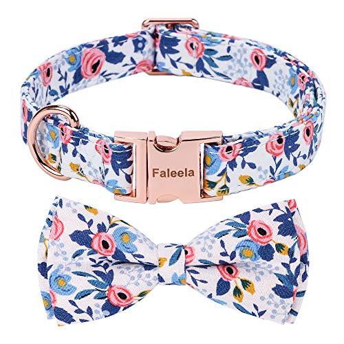 Faleela Hundehalsband mit Fliege – verstellbare Baumwollhalsbänder, rotgoldene Schnalle, D-förmige Schnalle, Hundezubehör, Halsband, Halsband, geeignet...