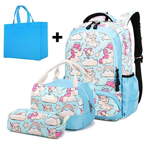 Juego de Mochila de Unicornio para niñas 3 en 1 Mochila Escolar para Libros con Bolsa para el Almuerzo