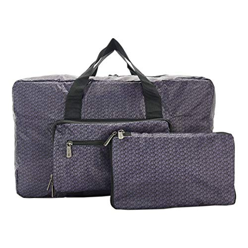 Eco Chic Lightweight Foldable Holdall - Disrupted Cubes Black