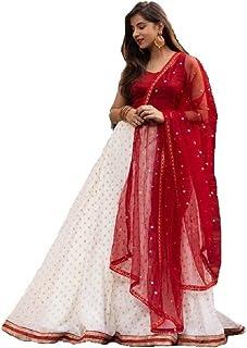 Nena Fashion Women's Net Unstitched Lehenga Choli (lehengha choli_White_Free Size)