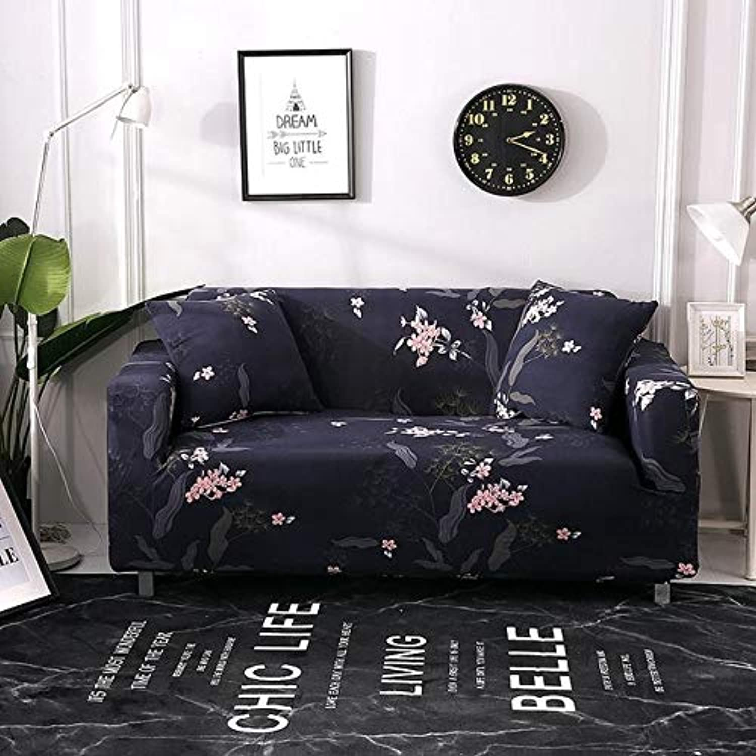Spandex Stretch Floral Printing Purple Sofa Cover Removable Elastic All-Inclusive Slipcovers Black Couch Case for Living Room   04, One seat